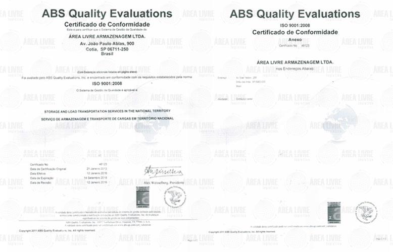 Certificado iso Area Livre